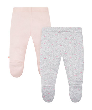 my first bow and pink ribbed leggings – 2 pack