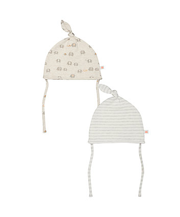 stripe and elephant hats with ties – 2 pack