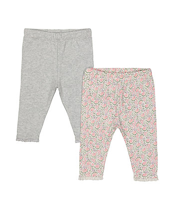 grey and floral leggings – 2 pack