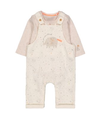 glitter elephant dungarees and bodysuit set