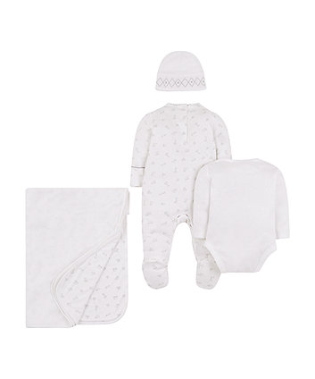 white and grey 4-piece gift set