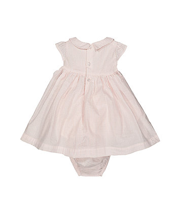 pink stripe smock dress and bloomers set