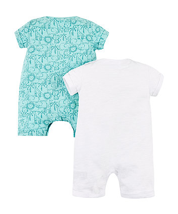 jungle animal rompers – 2 pack