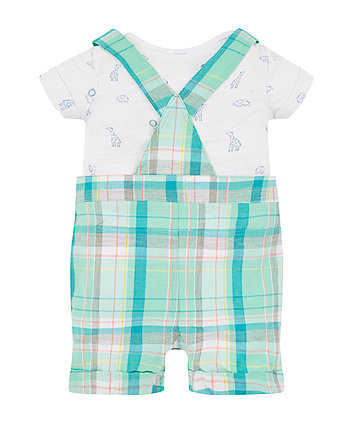 green check bibshorts and animal bodysuit set