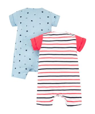 red stripe and blue whale rompers – 2 pack