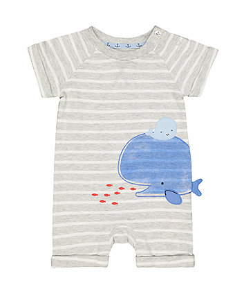 grey stripe whale romper