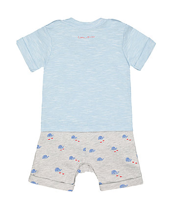 boat and whale mock t-shirt romper