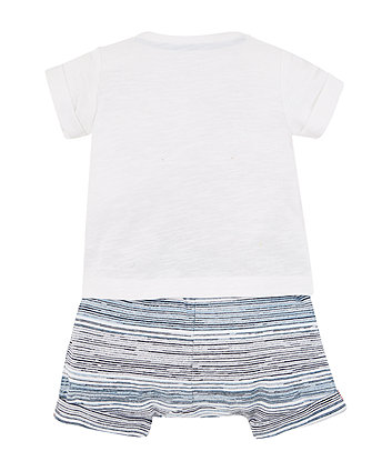 crab t-shirt and stripe shorts set