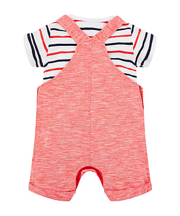 red bibshorts and stripe bodysuit set