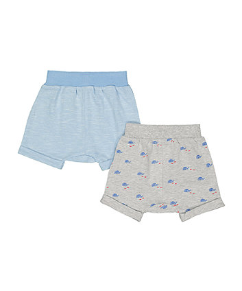 grey whale and blue shorts – 2 pack