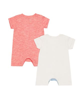whale and red rompers – 2 pack