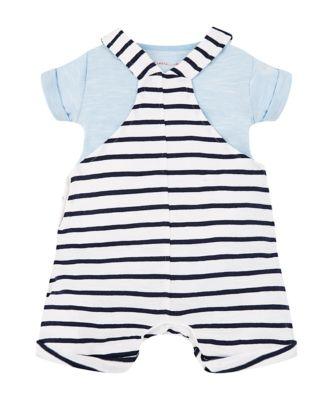 stripe boat bibshorts and blue bodysuit set