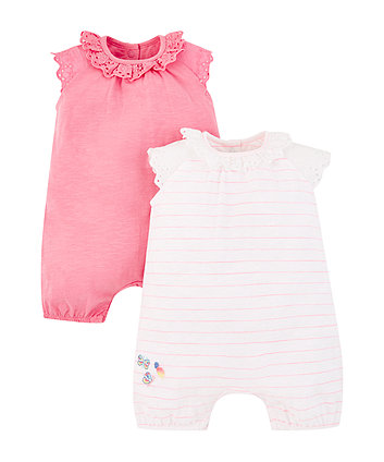 pink broderie rompers - 2 pack