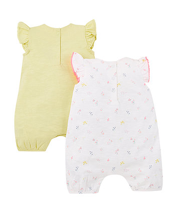 lemon yellow rompers - 2 pack
