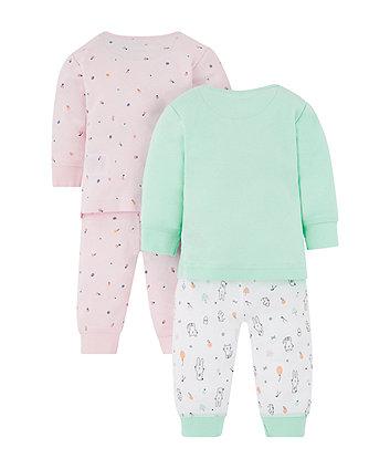 cat and fruit pyjamas - 2 pack