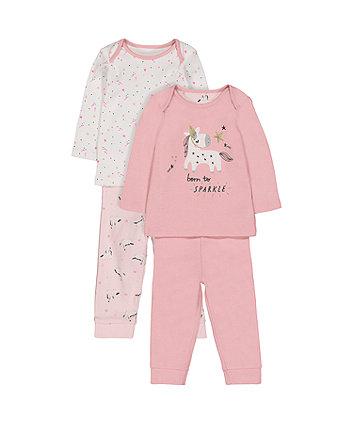 unicorn and star pyjamas - 2 pack