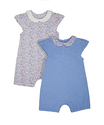 floral and spot rompers - 2 pack