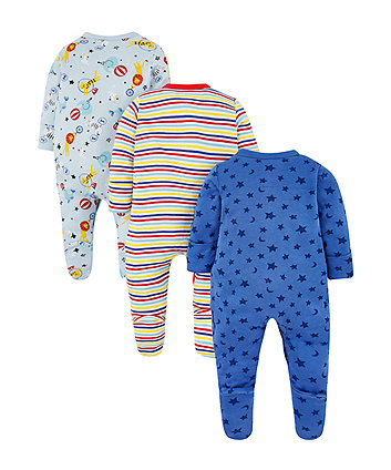 safari animal sleepsuits - 3 pack