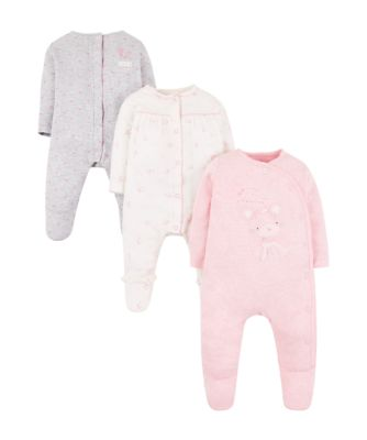 my first little bunny pink sleepsuits – 3 pack