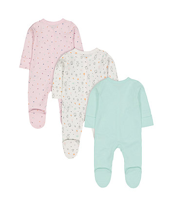 happy cat sleepsuits - 3 pack