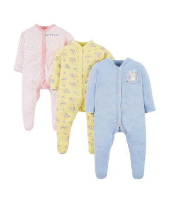 sweet bunny sleepsuits - 3 pack