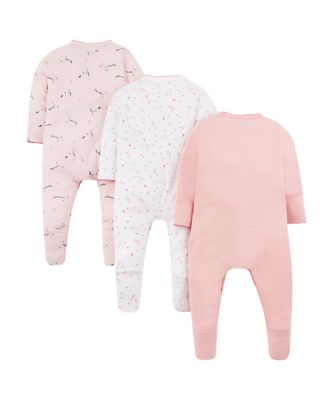 pink unicorn sleepsuits - 3 pack