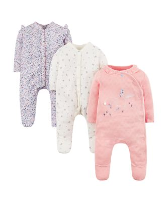 bunny and floral sleepsuits - 3 pack