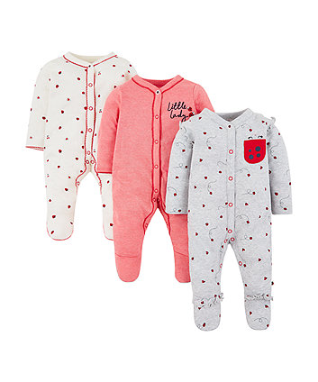 strawberry and ladybird sleepsuits - 3 pack