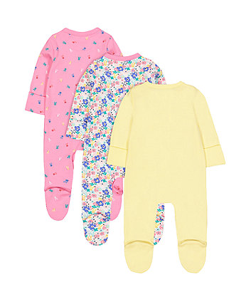 happy sleepsuits - 3 pack