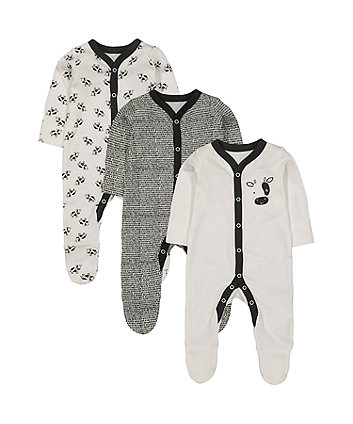 black and white cow sleepsuits - 3 pack