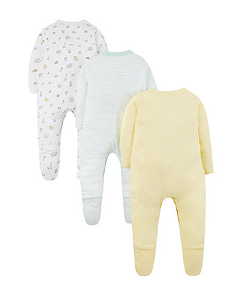 yellow elephant sleepsuits - 3 pack