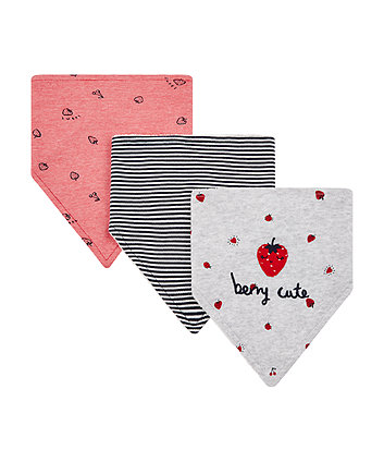 strawberry bibs - 3 pack