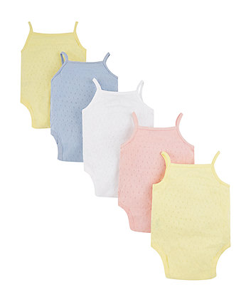 pastel pointelle cami bodysuits - 5 pack