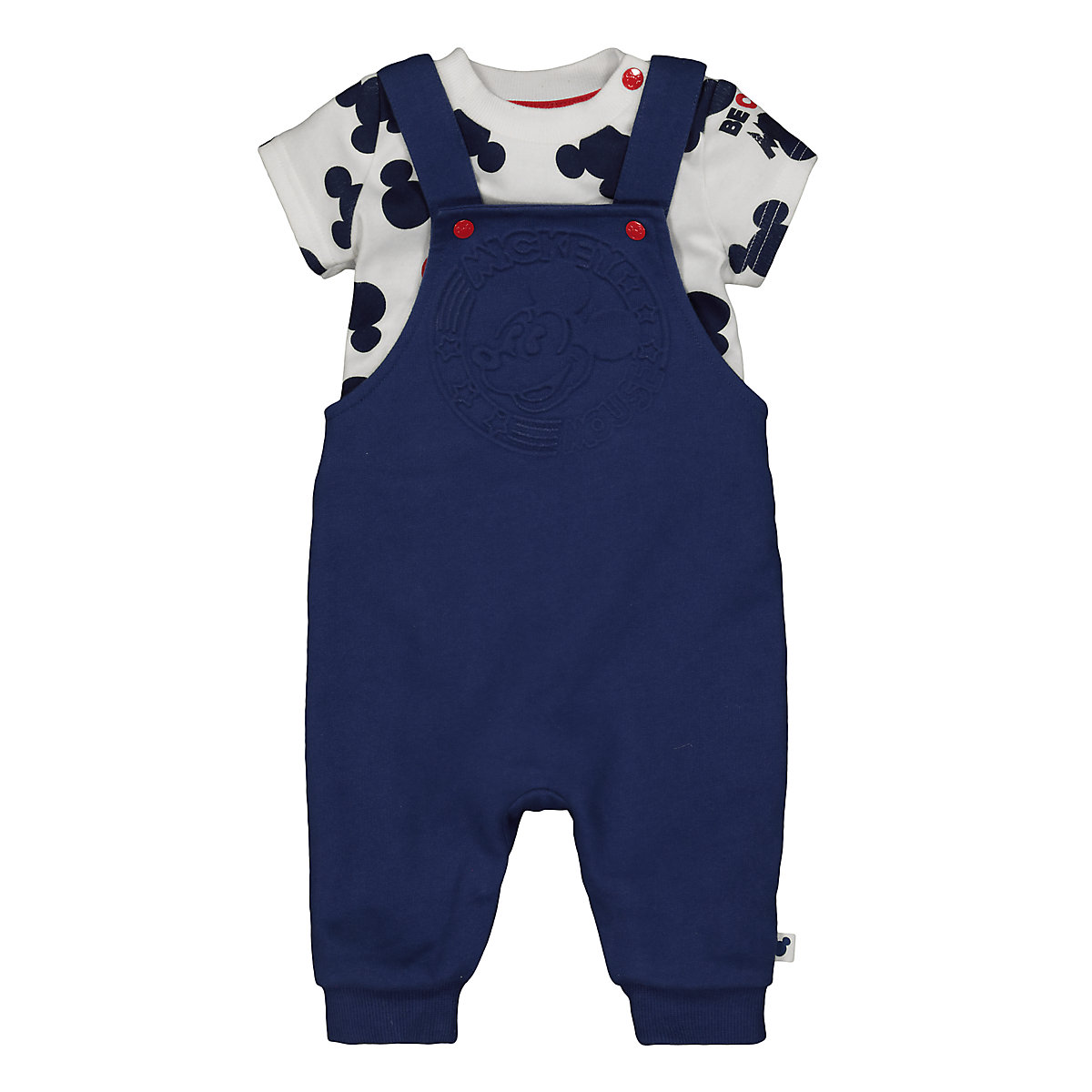 Disney baby mickey mouse dungarees and bodysuit set