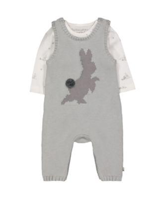 peter rabbit dungarees and bodysuit set