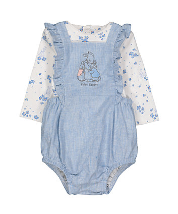 peter rabbit bibshorts and bodysuit set