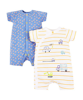 car and stripe rompers - 2 pack