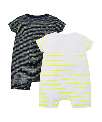 stripe and boat rompers – 2 pack