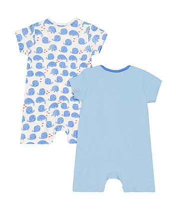 whale and mummy loves you rompers – 2 pack