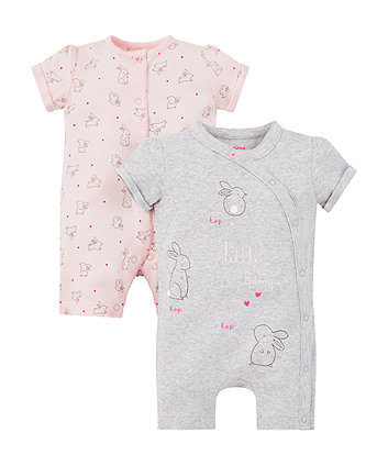 sweet dreams bunny rompers - 2 pack