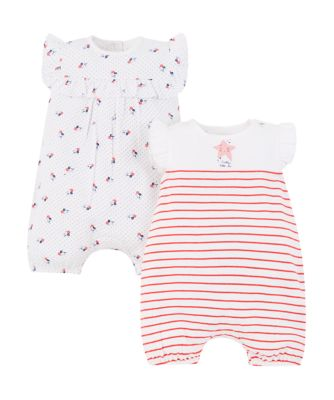 floral and stripe rompers -2 pack