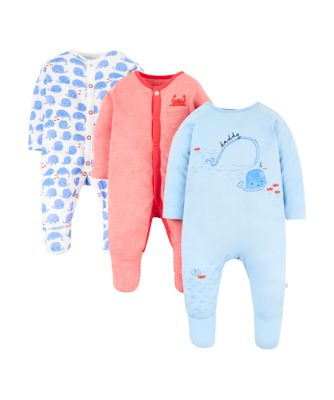 whale sleepsuits – 3 pack