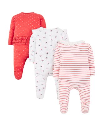 seaside stripe, floral and heart sleepsuits – 3 pack