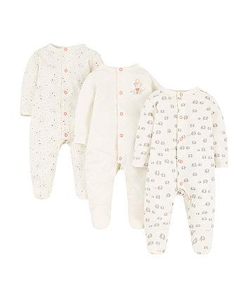 elephant sleepsuits – 3 pack