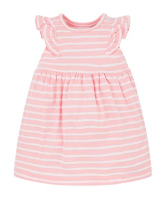 pink and white stripe dress
