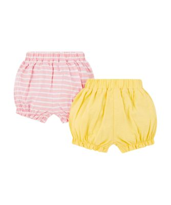 yellow and pink stripe shorts – 2 pack