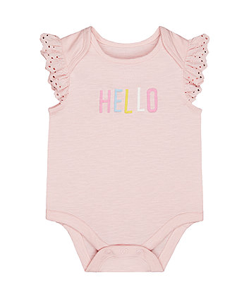 pink hello bodysuit