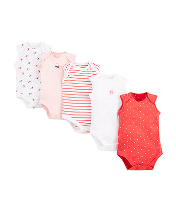 seaside floral bodysuits - 5 pack