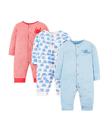 whale footless sleepsuits – 3 pack