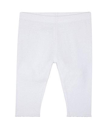 white crochet frill leggings